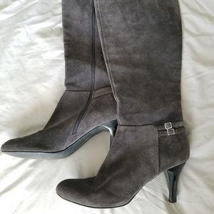 Calvin Klein | Dina Gray Suede Heeled Boots Sz 10
